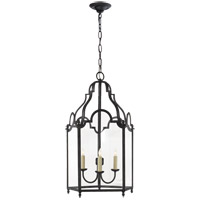 Visual Comfort E.F. Chapman French Market 3 Light Foyer Pendant in Hand Painted Blackened Rust CHC3414BR