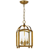 Visual Comfort E.F. Chapman Arch Top 3 Light Foyer Pendant in Antique-Burnished Brass CHC3420AB
