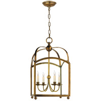 Visual Comfort E.F. Chapman Arch Top 4 Light Foyer Pendant in Antique-Burnished Brass CHC3422AB