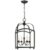 Visual Comfort E.F. Chapman Arch Top 4 Light Ceiling Lantern in Bronze with Wax CHC3422BZ