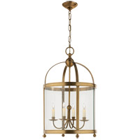 E. F. Chapman Edwardian 4 Light 18 inch Antique-Burnished Brass Foyer Pendant Ceiling Light in Antique Burnished Brass