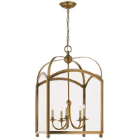 E. F. Chapman Arch Top 5 Light 20 inch Antique-Burnished Brass Foyer Pendant Ceiling Light in Antique Burnished Brass