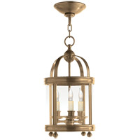 E. F. Chapman Edwardian 3 Light 9 inch Antique-Burnished Brass Foyer Pendant Ceiling Light in Antique Burnished Brass
