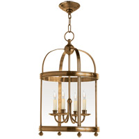 Visual Comfort E.F. Chapman Edwardian 4 Light Foyer Pendant in Antique-Burnished Brass CHC3427AB
