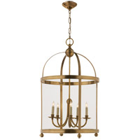 E. F. Chapman Edwardian 5 Light 22 inch Antique-Burnished Brass Foyer Pendant Ceiling Light in Antique Burnished Brass