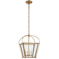 E. F. Chapman Plantation 4 Light 14 inch Antique Burnished Brass Foyer Lantern Ceiling Light, E.F. Chapman, Small, Clear Glass