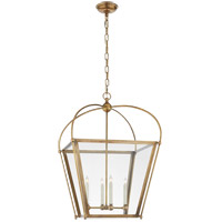 E. F. Chapman Plantation 4 Light 21 inch Antique Burnished Brass Foyer Lantern Ceiling Light, E.F. Chapman, Medium, Clear Glass