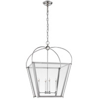 E.F. Chapman Plantation 4 Light 21 inch Polished Nickel Foyer Lantern Ceiling Light, E.F. Chapman, Medium, Clear Glass