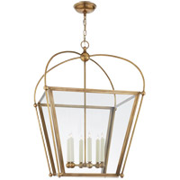 Visual Comfort E.F. Chapman Plantation 6 Light 29-inch Foyer Lantern in Antique Burnished Brass, Large, Clear Glass CHC3440AB-CG