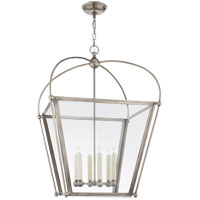 E. F. Chapman Plantation 6 Light 29 inch Antique Nickel Foyer Lantern Ceiling Light, E.F. Chapman, Large, Clear Glass