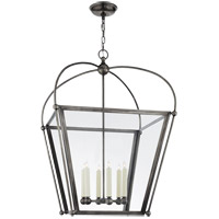 Visual Comfort E.F. Chapman Plantation 6 Light 29-inch Foyer Lantern in Bronze, Large, Clear Glass CHC3440BZ-CG