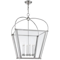 E. F. Chapman Plantation 6 Light 29 inch Polished Nickel Foyer Lantern Ceiling Light, E.F. Chapman, Large, Clear Glass
