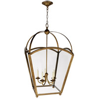 Visual Comfort E.F. Chapman Arch Top 5 Light Ceiling Lantern in Antique-Burnished Brass CHC3441AB