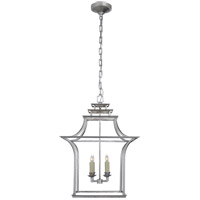 Visual Comfort E.F. Chapman Brighton 4 Light Foyer Pendant in Burnished Silver Leaf CHC3444BSL