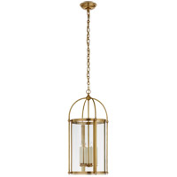Visual Comfort CHC3450AB-CG Chapman & Myers Plantation 4 Light 14 inch Antique-Burnished Brass Round Lantern Pendant Ceiling Light, Small