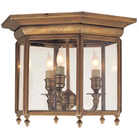 E.F. Chapman English 3 Light 15 inch Antique-Burnished Brass Flush Mount Ceiling Light in Antique Burnished Brass