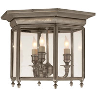 Visual Comfort E.F. Chapman English 3 Light Flush Mount in Antique Nickel CHC4105AN