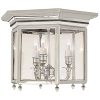 Visual Comfort E.F. Chapman English 3 Light Flush Mount in Polished Nickel CHC4105PN
