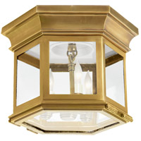 Visual Comfort CHC4125AB-CG E. F. Chapman Club 3 Light 12 inch Antique-Burnished Brass Flush Mount Ceiling Light in Antique Burnished Brass, Clear Glass