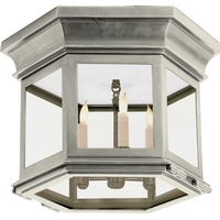 Visual Comfort E.F. Chapman Club 3 Light Flush Mount in Antique Nickel CHC4125AN-CG