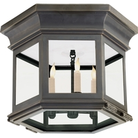 Visual Comfort CHC4125BZ-CG E. F. Chapman Club 3 Light 12 inch Bronze Flush Mount Ceiling Light in Clear Glass