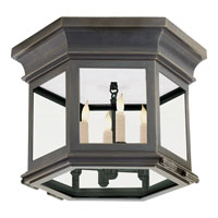 Visual Comfort E.F. Chapman Club 3 Light Flush Mount in Bronze with Wax CHC4125BZ-CG
