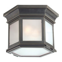 Visual Comfort CHC4125BZ-FG E. F. Chapman Club 3 Light 12 inch Bronze Flush Mount Ceiling Light in Frosted Glass
