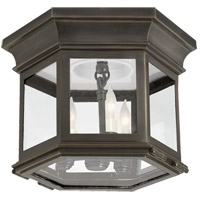 Visual Comfort CHC4125BZ-CG E. F. Chapman Club 3 Light 12 inch Bronze Flush Mount Ceiling Light in Clear Glass