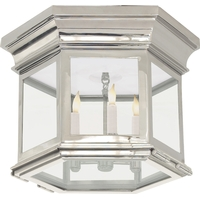 E.F. Chapman Club 3 Light 12 inch Polished Nickel Flush Mount Ceiling Light in Clear Glass