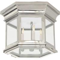 Visual Comfort CHC4125PN-CG E. F. Chapman Club 3 Light 12 inch Polished Nickel Flush Mount Ceiling Light in Clear Glass