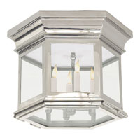 Visual Comfort E.F. Chapman Club 3 Light Flush Mount in Polished Nickel CHC4125PN-CG