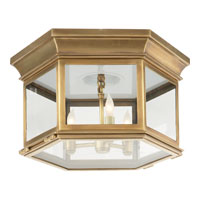 Visual Comfort E.F. Chapman Club 3 Light Flush Mount in Antique-Burnished Brass CHC4126AB-CG