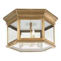 Visual Comfort CHC4126AB-CG E. F. Chapman Club 3 Light 16 inch Antique-Burnished Brass Flush Mount Ceiling Light in Antique Burnished Brass, Clear Glass