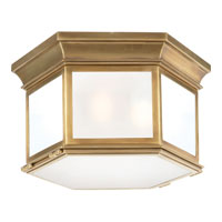 Visual Comfort E.F. Chapman Club 3 Light Flush Mount in Antique-Burnished Brass CHC4126AB-FG