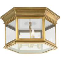Visual Comfort CHC4126AB-CG E. F. Chapman Club 3 Light 16 inch Antique-Burnished Brass Flush Mount Ceiling Light in Clear Glass