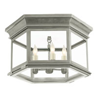 Visual Comfort E.F. Chapman Club 3 Light Flush Mount in Antique Nickel CHC4126AN-CG