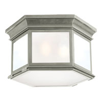 Visual Comfort E.F. Chapman Club 3 Light Flush Mount in Antique Nickel CHC4126AN-FG