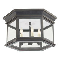 E.F. Chapman Club 3 Light 16 inch Bronze Flush Mount Ceiling Light in Clear Glass