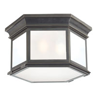 Visual Comfort E.F. Chapman Club 3 Light Flush Mount in Bronze with Wax CHC4126BZ-FG