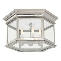 E.F. Chapman Club 3 Light 16 inch Polished Nickel Flush Mount Ceiling Light in Clear Glass