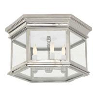Visual Comfort CHC4126PN-CG E. F. Chapman Club 3 Light 16 inch Polished Nickel Flush Mount Ceiling Light in Clear Glass