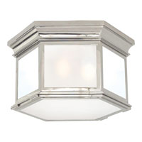 Visual Comfort CHC4126PN-FG E. F. Chapman Club 3 Light 16 inch Polished Nickel Flush Mount Ceiling Light in Frosted Glass