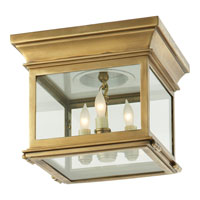 Visual Comfort E.F. Chapman Club 3 Light Flush Mount in Antique-Burnished Brass CHC4128AB-CG