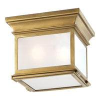 Visual Comfort E.F. Chapman Club 3 Light Flush Mount in Antique-Burnished Brass CHC4128AB-FG