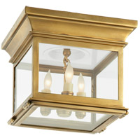 Visual Comfort CHC4128AB-CG E. F. Chapman Club 3 Light 9 inch Antique-Burnished Brass Flush Mount Ceiling Light in Clear Glass