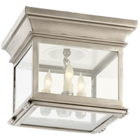 Visual Comfort CHC4128AN-CG E. F. Chapman Club 3 Light 9 inch Antique Nickel Flush Mount Ceiling Light in Clear Glass