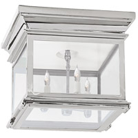 Visual Comfort CHC4128PN-CG E. F. Chapman Club 3 Light 9 inch Polished Nickel Flush Mount Ceiling Light in Clear Glass