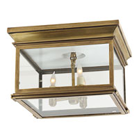 Visual Comfort E.F. Chapman Club 3 Light Flush Mount in Antique-Burnished Brass CHC4129AB-CG