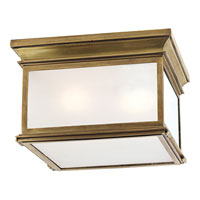 Visual Comfort E.F. Chapman Club 3 Light Flush Mount in Antique-Burnished Brass CHC4129AB-FG