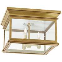 E. F. Chapman Club 3 Light 13 inch Antique-Burnished Brass Flush Mount Ceiling Light in Clear Glass
